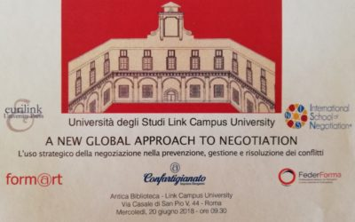 "20 giugno 2018, Roma, LINK Campus University – ""A new global approach to negotiation"""